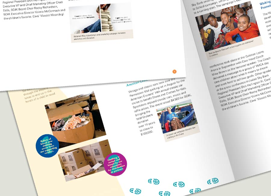 Shoes & Clothes for Kids annual report inside spread